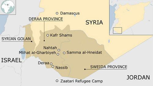 Tỉnh Sweida (vùng in đậm) nằm ở phía tây nam Syria là nơi bị IS tấn công hôm 25/7. Ảnh: Reuters.