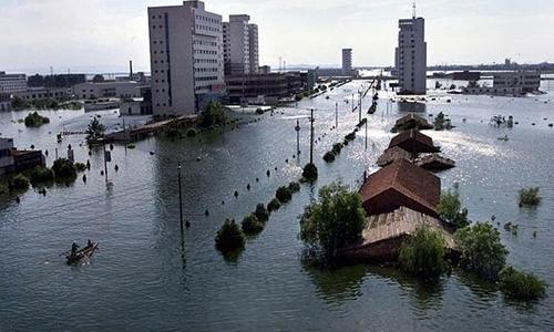 Lũ lụt do vụ vỡ đê gần sông Dương Tử năm 1998 tại Trung Quốc. Ảnh: AFP.