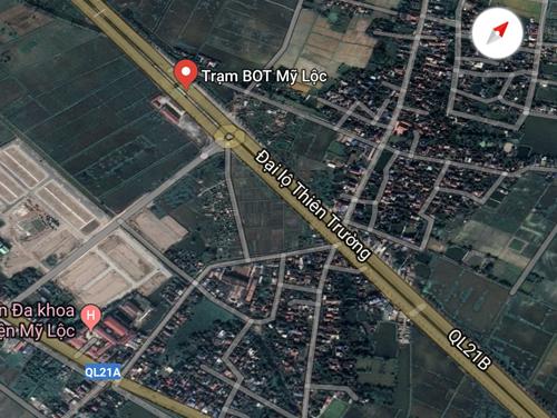 Vị trí trạm BOT Mỹ Lộc.