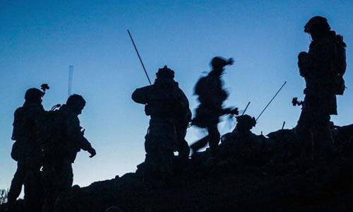 Lực lượng đặc nhiệm Mỹ di chuyển về sau cuộc hành quân tháng 3/2014 với quân đội quốc gia Afghanistan tại tỉnh Kandahar, Afghanistan. Ảnh: US Army.