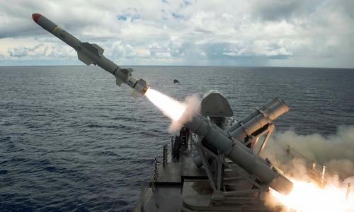 Tên lửa Harpoon bắn thử nghiệm giữa năm 2017. Ảnh: Boeing.