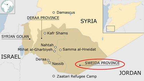 Vị trí của tỉnh Sweida. Đồ họa: Reuters.