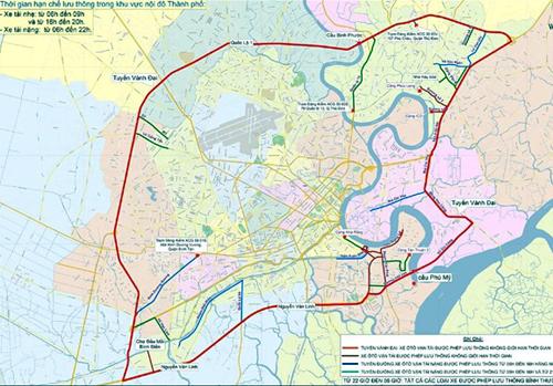 Khu vực nội đô và các tuyến đường hành lang cấm xe. Ảnh: Sở Giao thông Vận tải TP HCM
