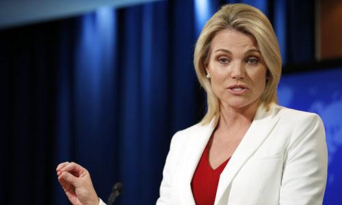 Phát ngôn viên Bộ Ngoại giao Mỹ Heather Nauert. Ảnh: AP.