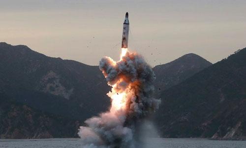 Triều Tiên phóng thử tên lửa Pukkuksong-1 năm 2016. Ảnh: KCNA.