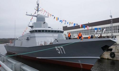 Tàu tên lửa Karakurt đầu tiên được Nga hạ thủy tháng 7/2017. Ảnh: TASS.