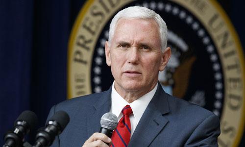 Phó Tổng thống Mỹ Mike Pence trong một cuộc họp với các doanh nhân tại Nhà Trắng tháng 4/2017. Ảnh: AP.
