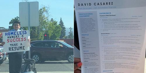 David Casarez đứng xin việc trên đường phố ở Thung lũng Silicon, Mỹ. Ảnh: Twitter
