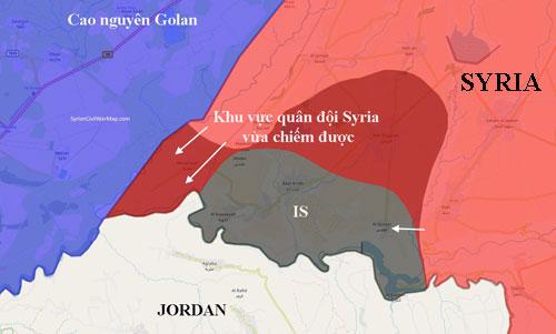 Quân đội Syria đang tiến vào những khu vực do quân nổi dậy bỏ lại ở biên giới giáp Cao nguyên Golan, cắt đứt hoàn toàn IS với phần lãnh thổ do Israel kiểm soát. Đồ họa: SyriaCivilWarMap.