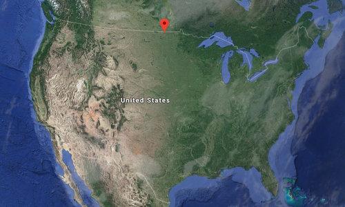 Vị trí đặt tổ hợp Stanley R. Mickelsen gần biên giới Mỹ - Canada. Đồ họa: Google Earth.