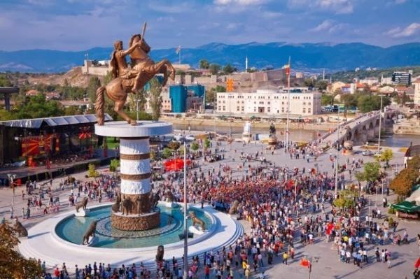 Quảng trường Macedonia ở thủ đô Skopje, Macedonia. Ảnh: