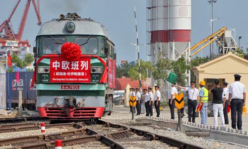 Một tàu chở hàng rời Trung Quốc để tới Duisburg, Đức. Ảnh: VCG.