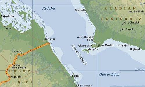 Eo biển Bab al-Mandeb nối liền Biển Đỏ với Vịnh Aden. Đồ họa:MapPoint.