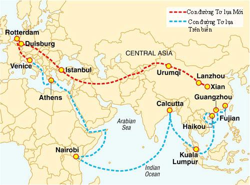 Duisburg nằm trên Con đường Tơ lụa Mới từ Trung Quốc tới châu Âu. Đồ họa: Berita.