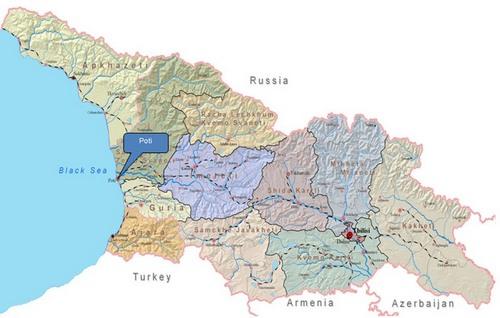 Cảng Poti nằm ở phía tây Gruzia, bên bờ Biển Đen. Đồ họa: Grande Group.