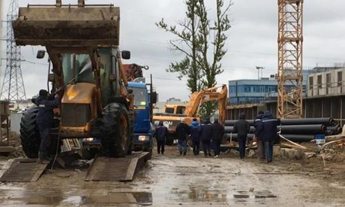 Lao động Triều Tiên tại một công trường xây dựng ở Nga hồi tháng một. Ảnh: CNN.