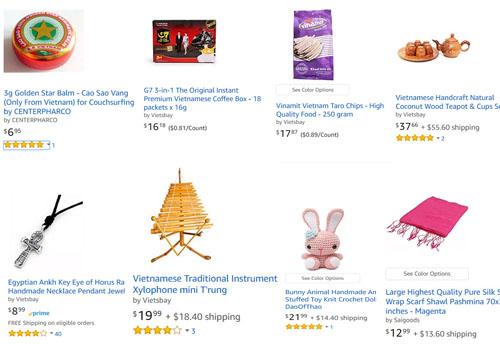 Một số mặt hàng Việt Nam trong tổng số hơn 20.000 loại hàng hóa Erik Frankel bán trên trang thương mại điện tử Amazon. Ảnh: Amazon.