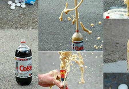 Kẹo bạc hà Mentos và Coca Cola khi thử nghiệm đã phản ứng rất mạnh.