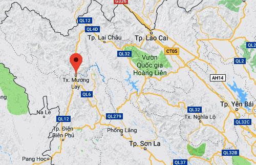 Vị trí vụ tai nạn trên Quốc lộ 12 thuộc thị xã Mường Lay, Điện Biên.