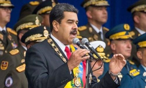Tổng thống Maduro phát biểu trước khi xảy ra vụ ám sát hụt. Ảnh: AFP.