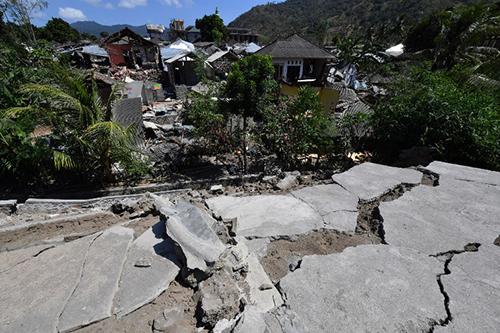 Cảnh đổ nát ởPemenang, phía bắcLombok sau động đất. Ảnh: AFP
