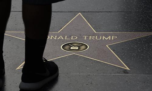Ngôi sao của Trump trên Đại lộ Danh vọng Hollywood, bang California, Mỹ. Ảnh: AFP.