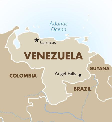 Venezuela có đường biên giới dài với Brazil. Đồ họa: Goway.