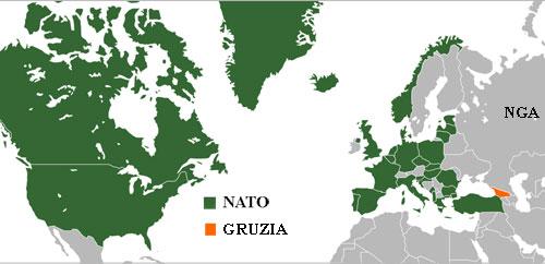 Vị trí tương quan giữa các nước thành viên NATO, Gruzia và Nga. Đồ họa: Wikimap.