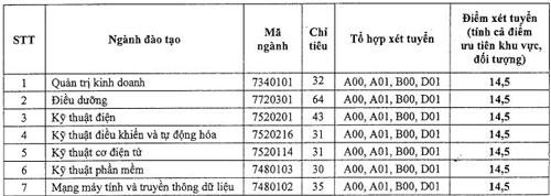 Điểm chuẩn Đại học Lạc Hồng, Quốc tế Miền Đông - 2