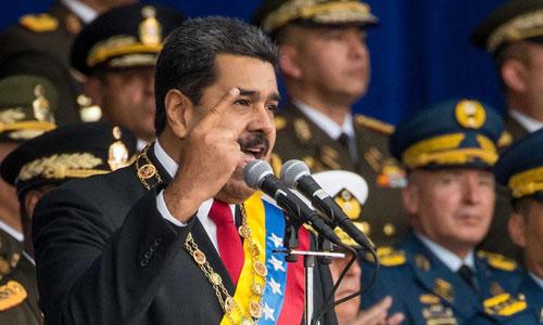 Tổng thống Venezuela Nicolas Maduro phát biểu trước các binh sĩ ở thủ đô Caracas trước khi xảy ra vụ tấn công hôm 4/8. Ảnh: AP.