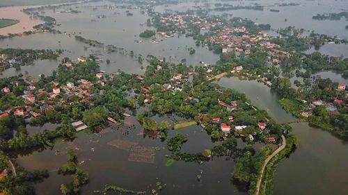 Huyện Chương Mỹ là địa bàn thiệt hại nặng nề nhất trong đợt mưa lũ vừa qua. Ảnh: Giang Huy.