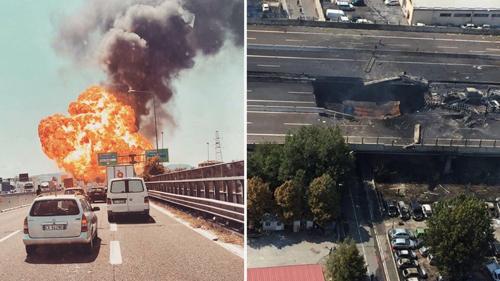 Hiện trường vụ tai nạn, cây cầu sập một lỗ to. Ảnh: The Drive.
