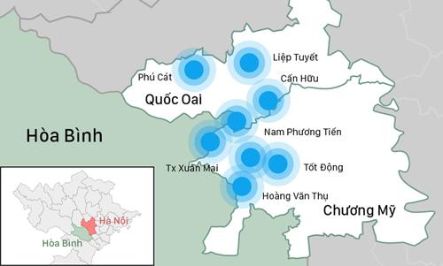 Nước từ Lương Sơn, Kim Bôi (Hoà Bình) tràn về, cộng với lượng mưa tại chỗ gây ngập lụt tại nhiều địa bàn của hai huyện Quốc Oai, Chương Mỹ (Hà Nội). Đồ hoạ: Việt Chung.