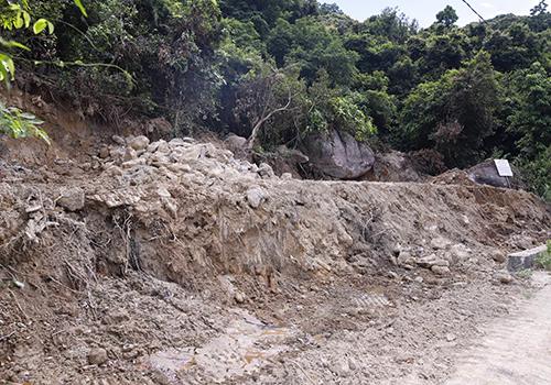 Một rẻo rừng dài khoảng 20m sát mặt đường dẫn lên đỉnh Bàn Cờ (tuyến đường trước nhà máy đóng tàu) được san ủi làm công trình phòng cháy chữa cháy. Ảnh: Nguyễn Đông.