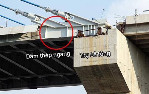 Dầm thép ngang bị nứt sẽ được thay thế. Ảnh: Cửu Long.