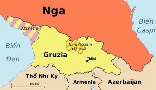 Vị trí giữa Nga, Gruzia với Abkhazia và Nam Ossetia. Đồ họa: Wikipedia.