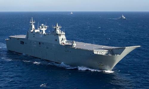 Nhóm tàu tác chiến của Australia trên đường di chuyển tới Biển Đông hồi tháng 9/2017. Ảnh: Daily Telegraph.