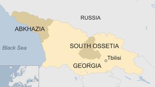 Vị trí vùng Abkhazia và Nam Ossetia. Đồ họa: BBC.