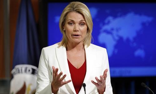 Người phát ngôn Bộ Ngoại giao Mỹ Heather Nauert. Ảnh: AP.