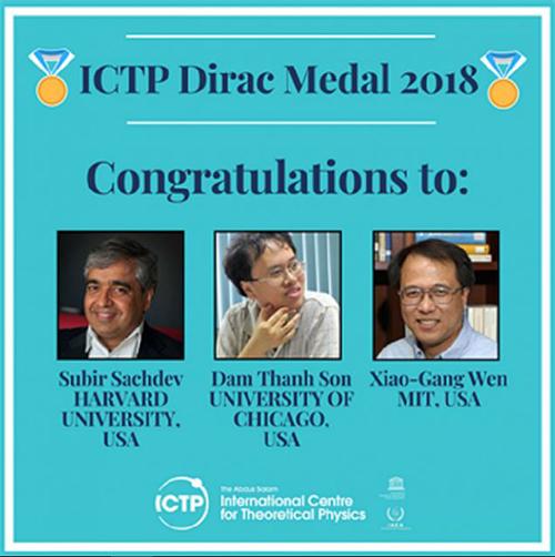 Ba nhà vật lý đoạt Giải thưởng và Huy chương Dirac 2018. Ảnh: ICTP.