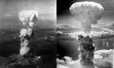 Đám mây hình nấm từ vụ ném bom Hiroshima (trái) và Nagasaki. Ảnh: Wikipedia.