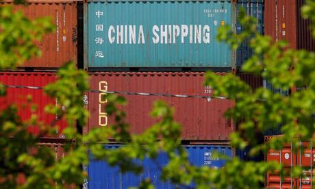 Một container vận chuyển mang nhãn hiệu Trung Quốc tại cảng Container Paul W. Conley ở Boston, bang Massachusetts, Mỹ hôm 9/5. Ảnh: Reuters.