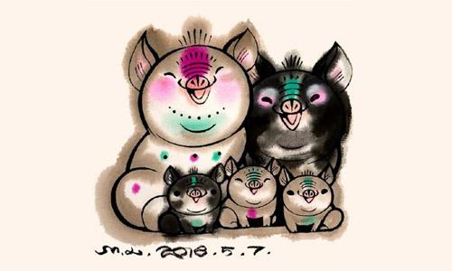 Con tem in hình gia đình lợn được chính phủ Trung Quốc công bố hôm 7/8. Ảnh: CNN.