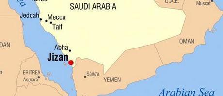 Vị trí thành phố Jizan, mục tiêu của tên lửa do Houthi khai hỏa. Đồ họa: Google Earth.