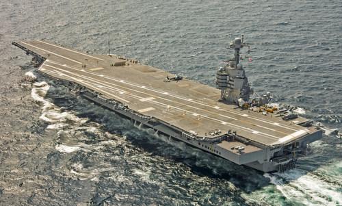 Tàu sân bay USS Gerald R. Ford trong chuyến thử nghiệm giữa năm 2017. Ảnh: USNI.