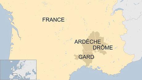 Ba khu vực bị ảnh hưởng nặng nề nhất (màu đậm) trong trận lũ hôm qua ở miền nam nước Pháp. Đồ họa: BBC.