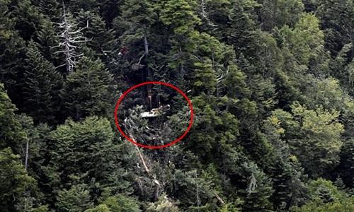 Nơi tìm thấy mảnh vỡ chiếc trực thăng. Ảnh: Kyodo News.
