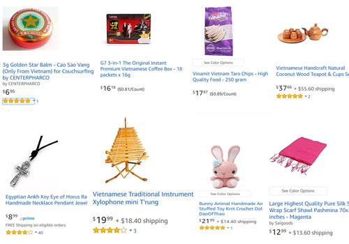 Một số mặt hàng Việt Nam, trong tổng số hơn 20.000 loại hàng hóaErik Frankel bán trên trang thương mại điện tử Amazon, bao gồm cao Sao Vàng, cafe Trung Nguyên, khăn lụa, thú bông đan len, vòng cổ bằng thiếc và bộ ấm chén làm từ vỏ dừa. Ảnh: Amazon.