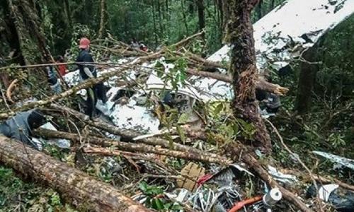 Mảnh vỡ máy bay được phát hiện trong vùng rừng núi nhiều cây cối sáng nay. Ảnh: AFP.
