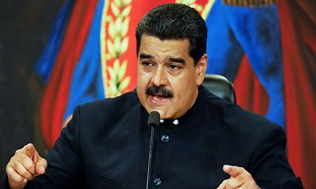 Tổng thống Maduro trong một buổi họp bộ trưởng tại Caracas. Ảnh: Reuters.